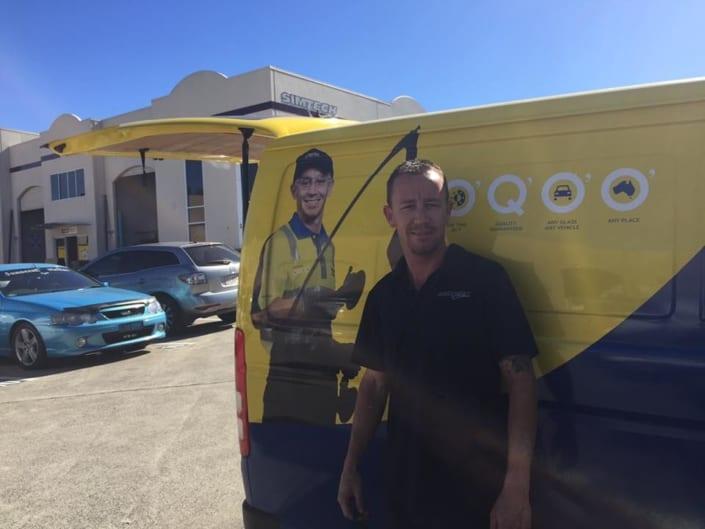 About Rapid Response Autoglass - Damien Standing Next To Work Van